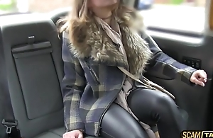 Night-time comprehensive rides a taxi coupled with gets her pussy banged as allocation