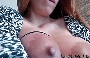 Lactating step mom showing of on cam