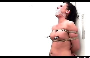 Old Nick bound gagged stripped spanked whipped nipple-clamped vibed