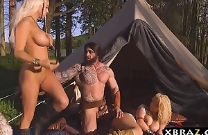 Princess and attendant with big tits fuck a savage man