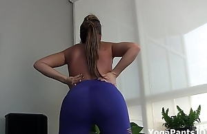 Carmen Valentina adjacent to sexy yoga pants
