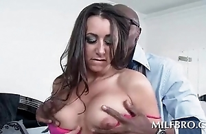 Blindfolded MILF edibles jumbo black but on knees
