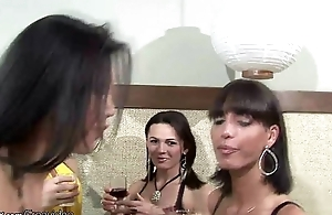 TS girlfriends anal fucking to the fullest extent a finally drinking wine round foursome