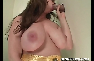 Burly boobs redhead grown BJ on gloryhole
