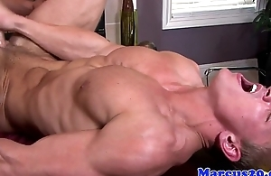 Frayed blot out jerks his cock while assfucked