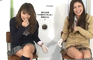 Japanese femdom nearly handjob and cunnilingus to slave for cash.
